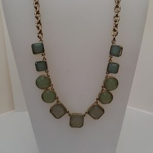 Loft gold blue and green statement necklace square